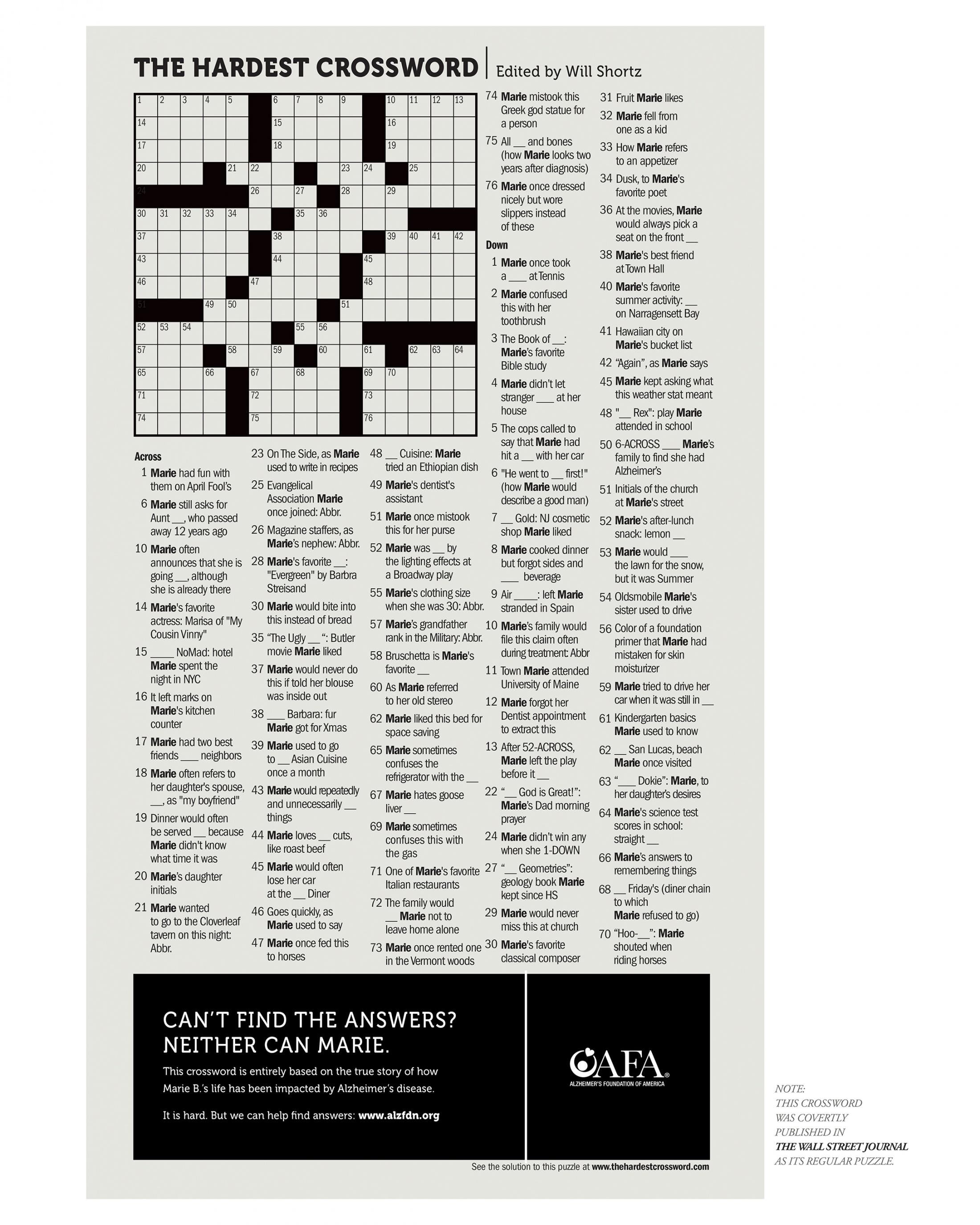 Thumbnail for The Hardest Crossword - Marie's Crossword