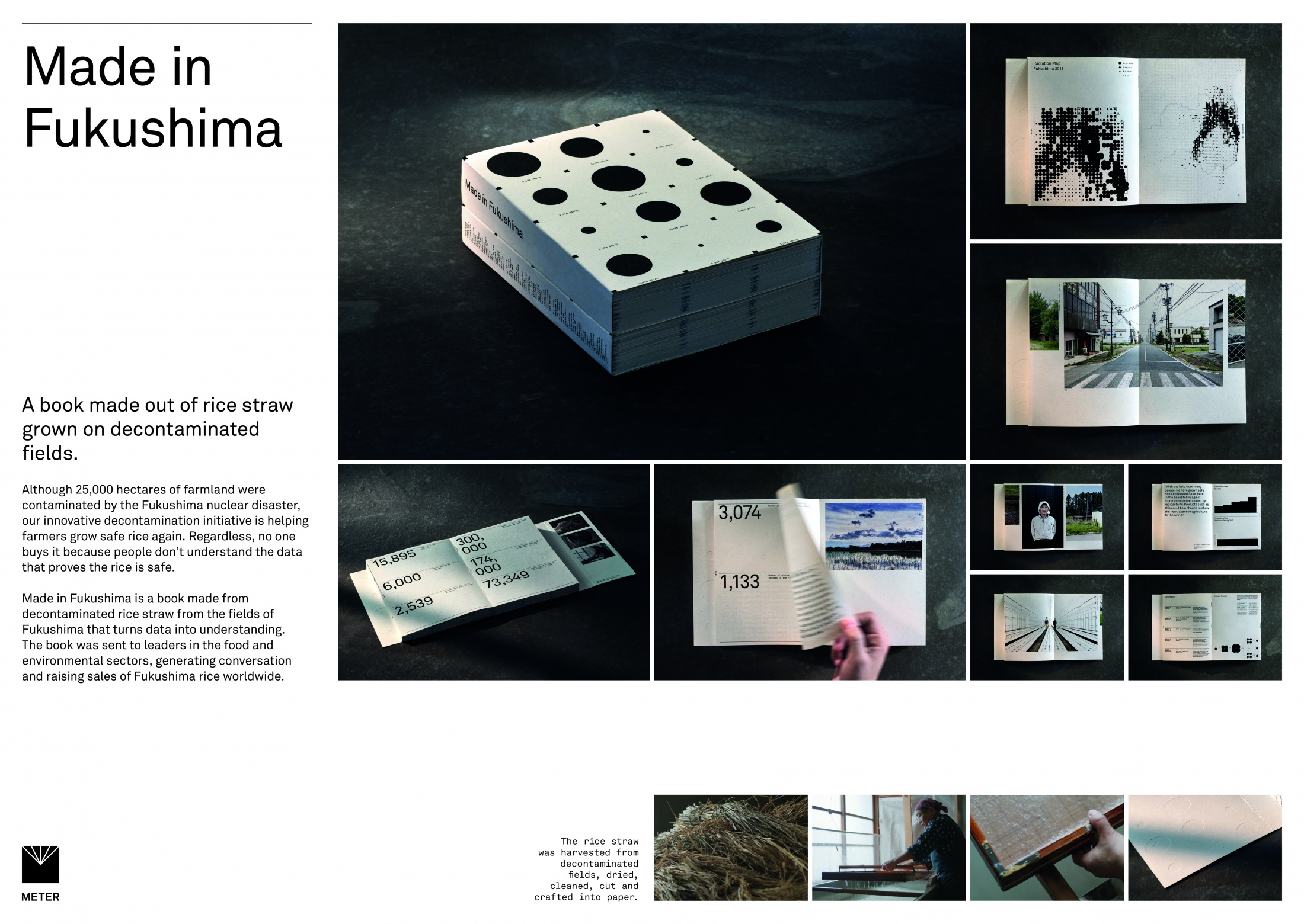 Thumbnail for Made in Fukushima. A book made out of rice straw grown on decontaminated farmland.