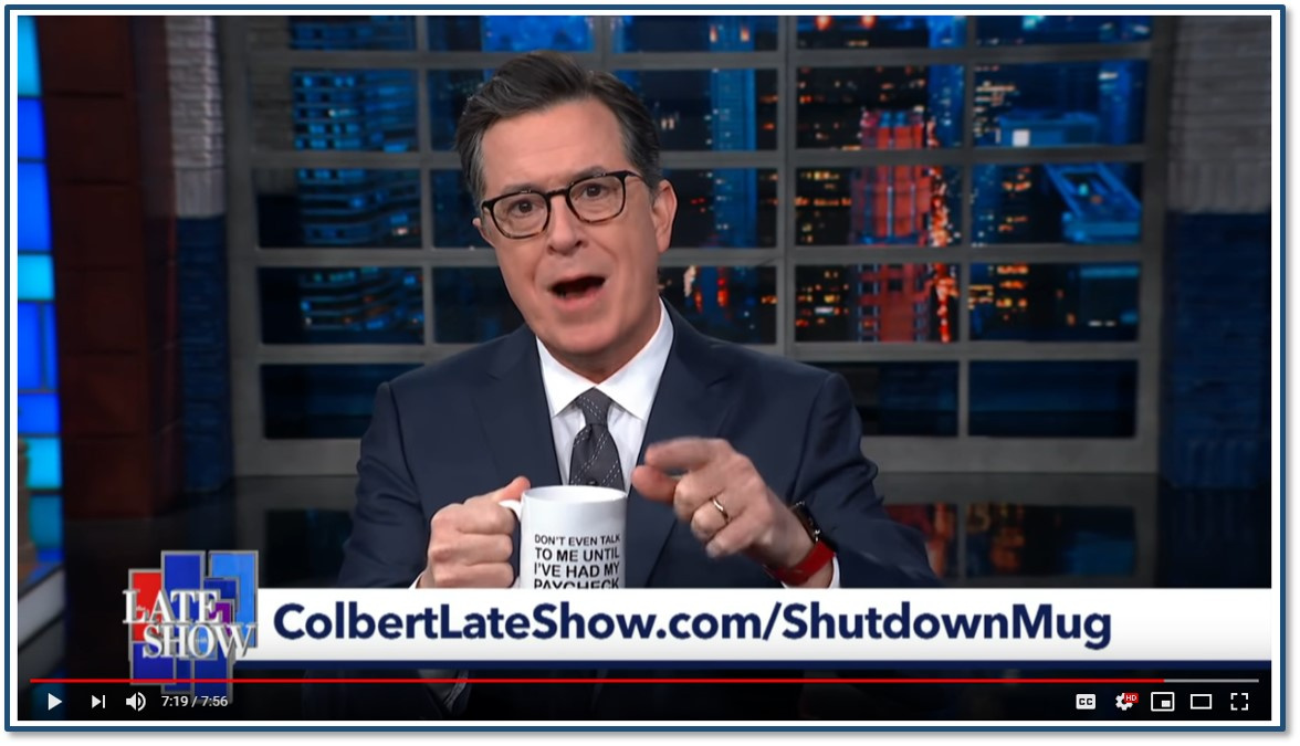 Thumbnail for Colbert's Shut Down Mug to Benefit Unpaid Federal Workers