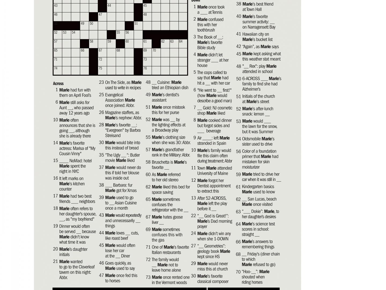 Image for The Hardest Crossword - Marie's Crossword