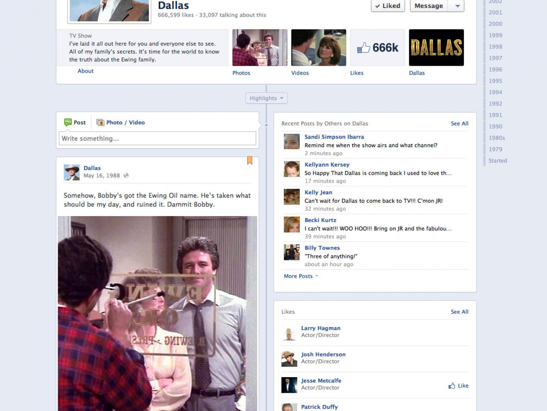 JR Ewing's Dallas Facebook Timeline Thumbnail